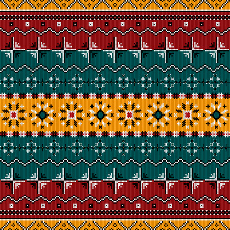 ethno: Balkan style ethno country carpet, seamless pattern design Illustration