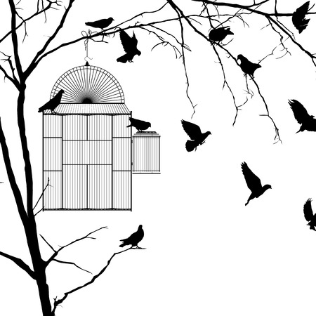 Bird cage silhouette over white background Vector