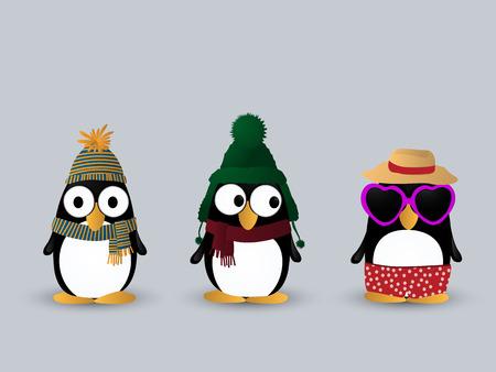 Cute little penguin cartoon characters Vector