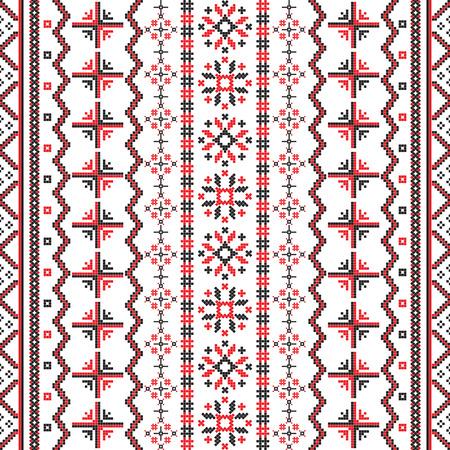 白い背景に対してルーマニアの刺繍のシームレスなパターン設計