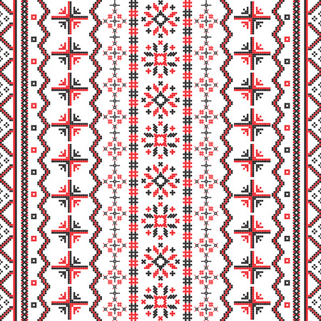 Romanian Embroideries seamless pattern design against white background Vector