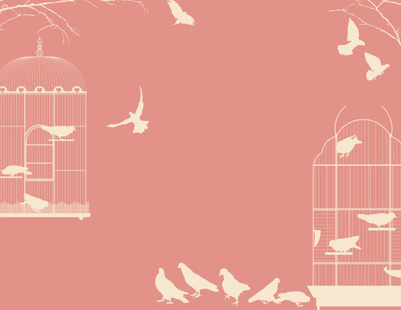 Birds and birdcages postcard design