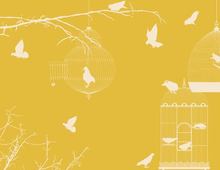 jail bird: Birds and birdcages postcard design