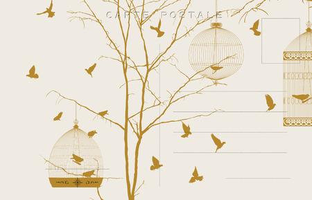 oiseau dessin: Carte postale vintage avec des oiseaux et des cages d'oiseaux