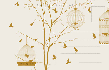 pajaro dibujo: Postal de la vendimia con los p�jaros y jaulas de p�jaros Vectores
