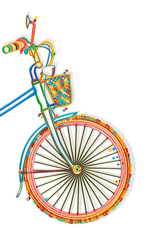 Bicycle funcky style template with copy space Vector