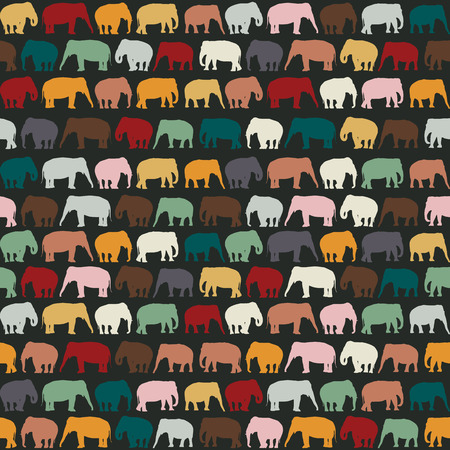 Elephants texture, seamless pattern for textile, website background, book cover, packaging. Vector