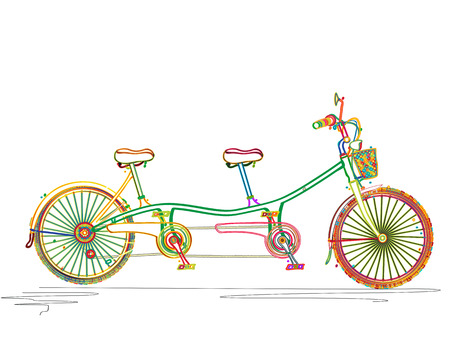 Stylized colored tandem bicycle design over white background