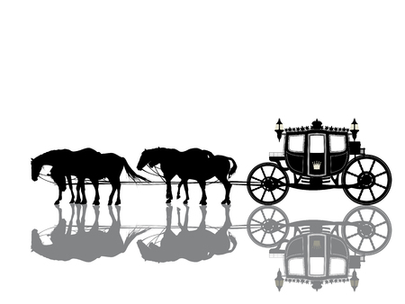 Antique royal coach with four horses