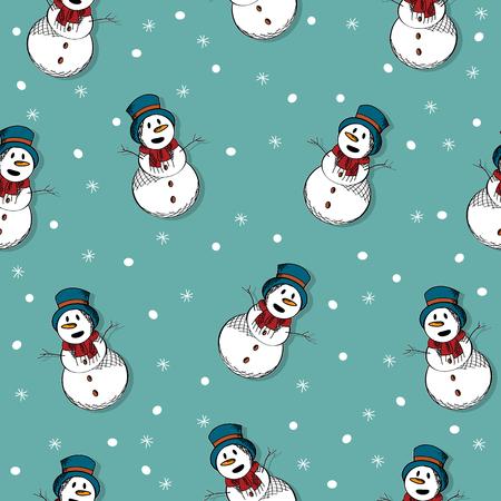 winter wallpaper: Winter wallpaper seamless pattern with happy snowman Illustration