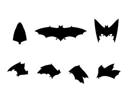 frighten: Bat silhouettes set in bkach and white