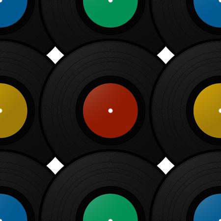 Vintage record disk seamless pattern design Illustration