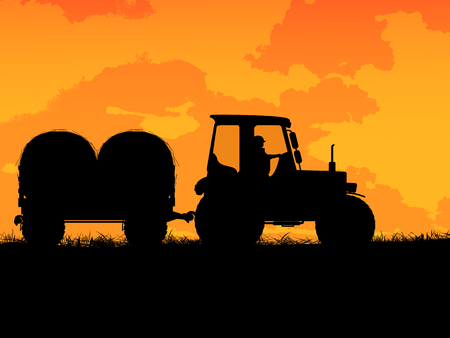 Farm tractor silhouette on the field Çizim