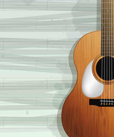 Acoustic guitar card design. Sample layout with room for text