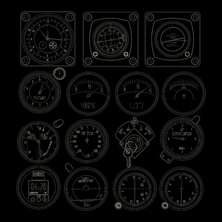 Aircraft dashboard instruments outlined over black background