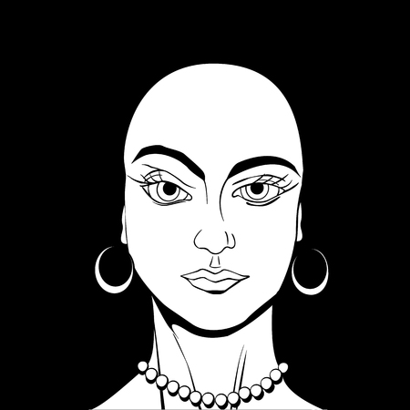 Bold gir avatar drawing in black and white