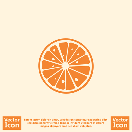 Flat style icon with orange symbol