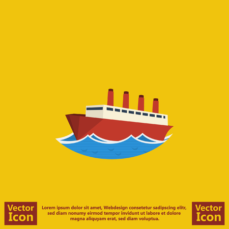 Flat style icon with  steam ship symbol Illustration