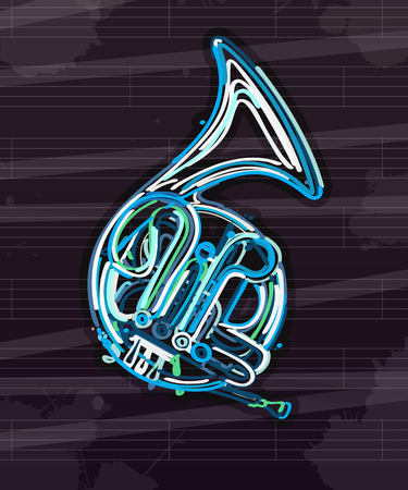 mouthpiece: Stilyzed french horn over musical sheet, abstract art Illustration