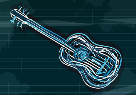 Guitar background, abstract art Ilustrace