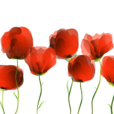 Red poppies row, abstract art illustration Иллюстрация