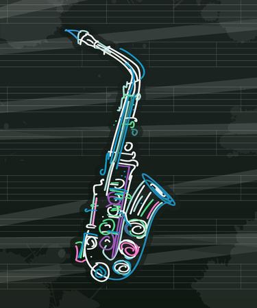 Stilyzed saxophone over musical sheet, abstract art
