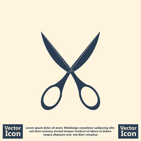 Flat style icon with scissors symbol Illustration