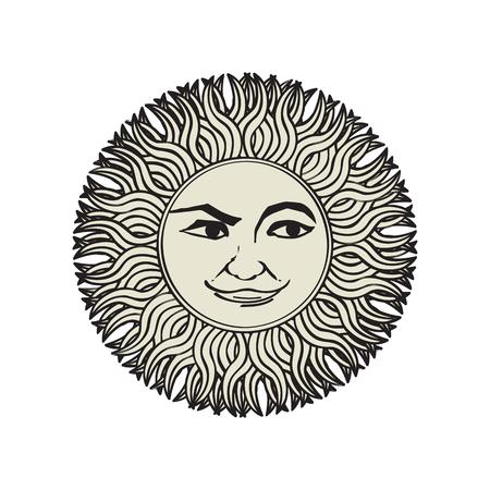 Vector sun ornament, tattoo