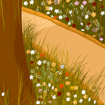 Spring time footpath park icon Illustration