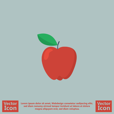 Flat Style Icon With Apple Symbol Royalty Free Cliparts Vectors