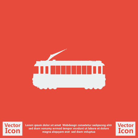 tramcar: Flat style icon with tramcar symbol
