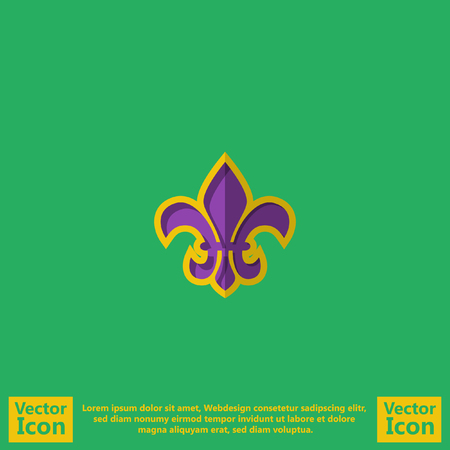 Flat style icon with  Fleur de lis symbol Illustration