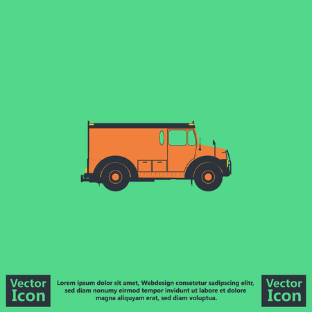 Flat style icon with armored car symbol