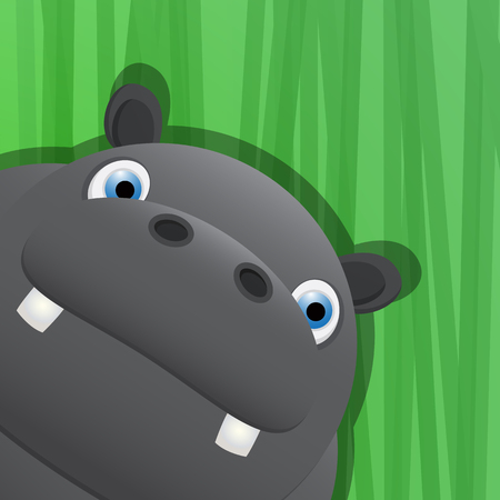 Funny hippo avatar icon for web