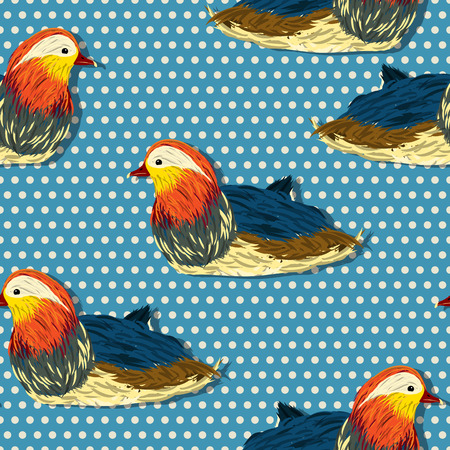bakground: Little mandarin duck seamless pattern design