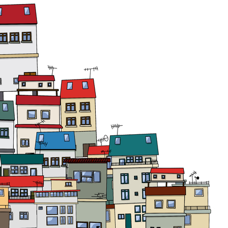 mediterranean homes: Old city cartoon drawing with copy space