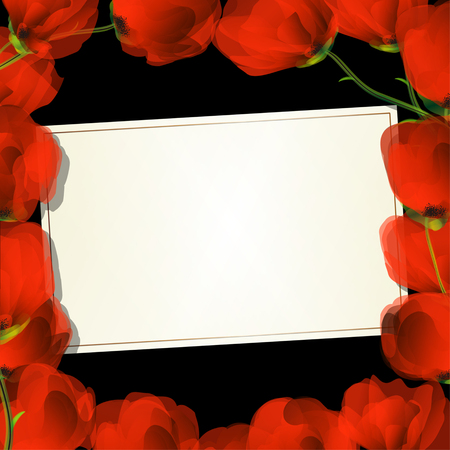 Red poppies frame and text card for design