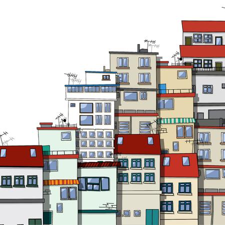 Vecchie case villaggio cartoon su sfondo bianco Archivio Fotografico - 78428856