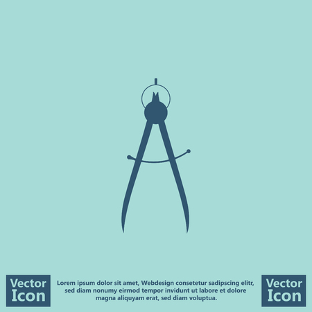 Flat style icon with compass symbol Illustration