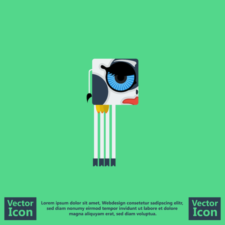 Flat style icon with cow symbol Illustration