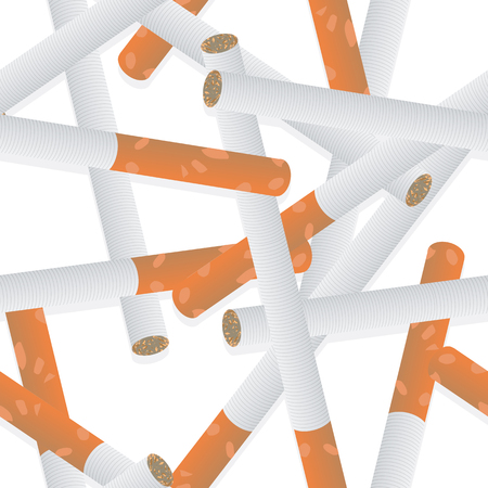 Abstract seamless pattern of cigaretts with filter. Isolated on white background