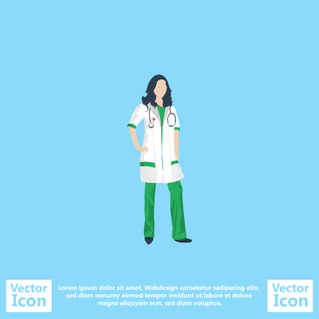 Flat style icon with doctor symbol Illustration