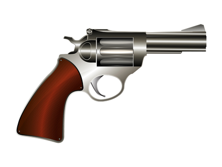 Revolver, vector drawing over white background