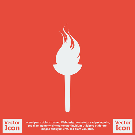 flaming: Flat style icon with  flaming torch symbol