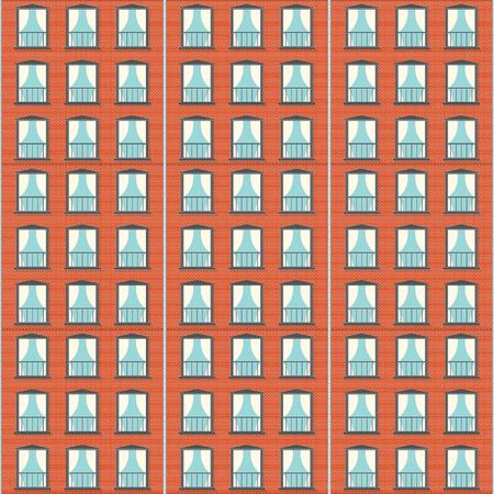 Brick wall building  facade seamless pattern design