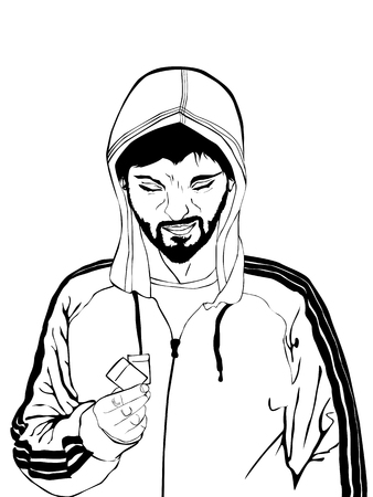 Comic style drawing of a drug dealer in black and white Illustration