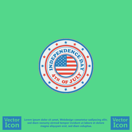 Flat style icon with  independence day symbol