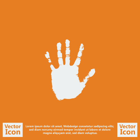 Flat style icon with handprint symbol