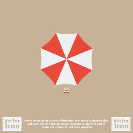 Flat style icon with parasol symbol