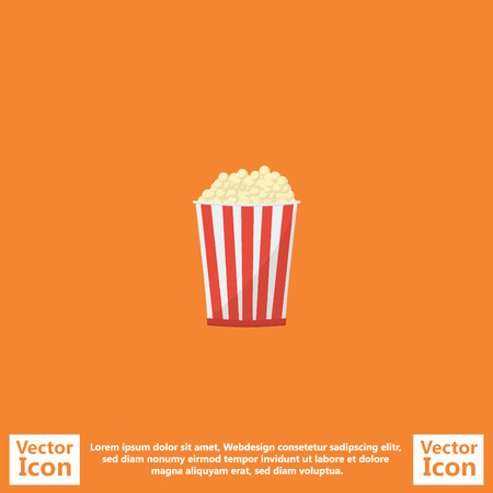 Flat style icon with pop corn symbol